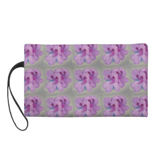 Purple Flowers on Silver Wristlet