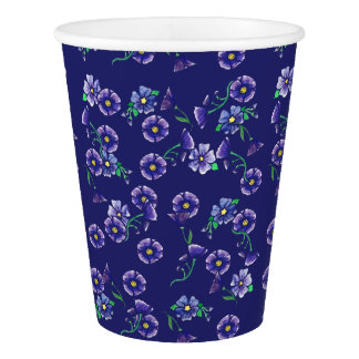 Purple Flowers Paper Cup
