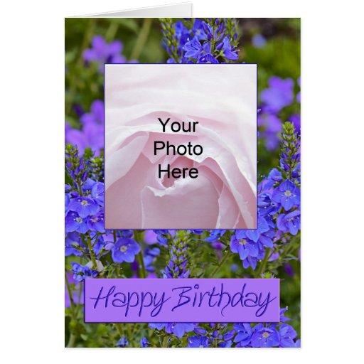 Purple flowers Photo Birthday Card