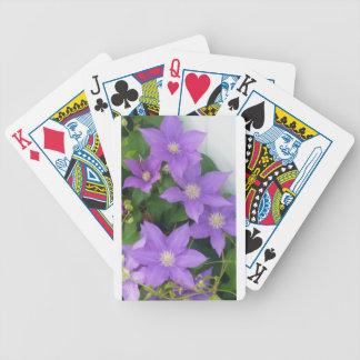purple flowers poker deck