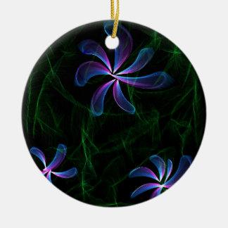 Purple Flowers Round Ceramic Decoration