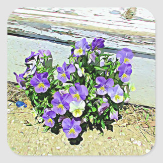 Purple Flowers Rustic Weathers Painted Stairs Square Sticker