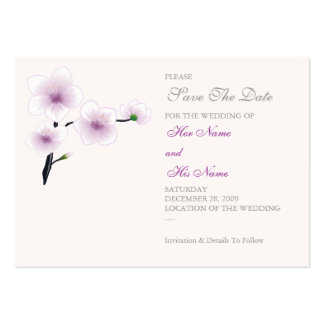 Purple Flowers Save The Date MiniCard Business Card Template
