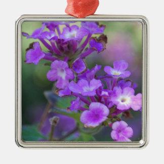 Purple Flowers Silver-Colored Square Decoration