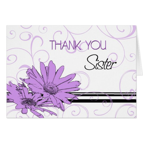 Purple Flowers Sister Thank You Maid of Honour Card