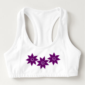 Purple Flowers Sports Bra