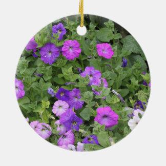 Purple Flowers Spring Garden Theme Petunia Floral Ceramic Ornament