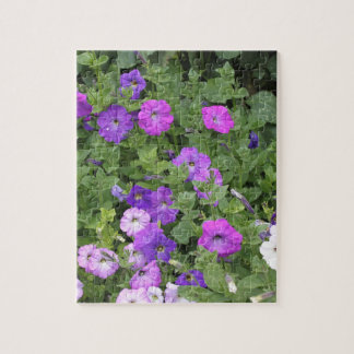 Purple Flowers Spring Garden Theme Petunia Floral Jigsaw Puzzle