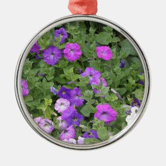Purple Flowers Spring Garden Theme Petunia Floral Metal Ornament