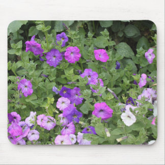 Purple Flowers Spring Garden Theme Petunia Floral Mouse Pad