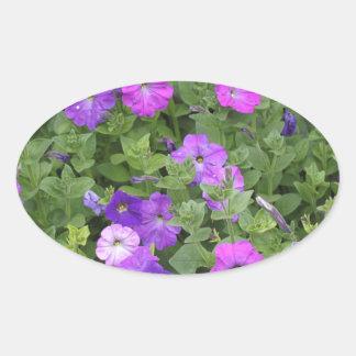 Purple Flowers Spring Garden Theme Petunia Floral Oval Sticker
