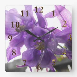 purple flowers square wall clock