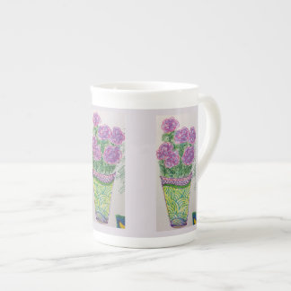 Purple Flowers Tea Cup