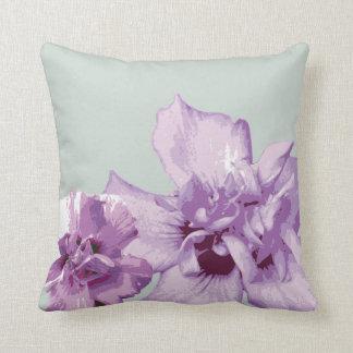Purple Flowers Throw Pillow 16X16