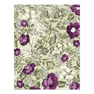 Purple Flowers Violets Background Leafy Floral Custom Flyer