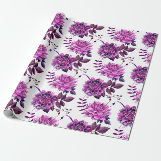 Purple flowers Watercolor botanical Floral pattern Wrapping Paper