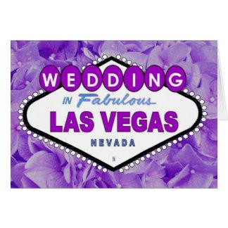 Purple Flowers WEDDING in Las Vegas Announcement C Greeting Card