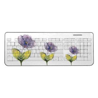 Purple Flowers Wireless Keyboard