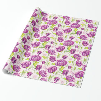 "Purple Flowers Wrapping Paper, 30"" x 15' Wrapping Paper"