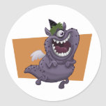 Purple Flying Monster Orange Square Round Sticker