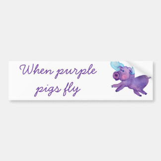 Purple Flying Pig Bumper Sticker