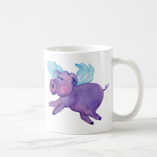 Purple Flying Pig Coffee Mugs