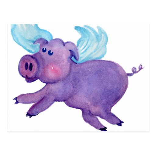 Purple Flying Pig Post Card