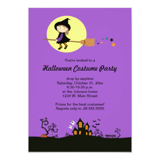 Purple Flying Witch Halloween Party Invitations