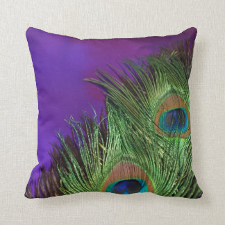 Purple Foil Peacock Cushion