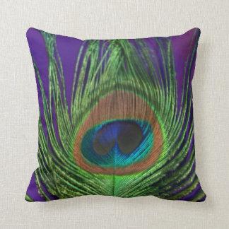 Purple Foil Single Peacock Cushion