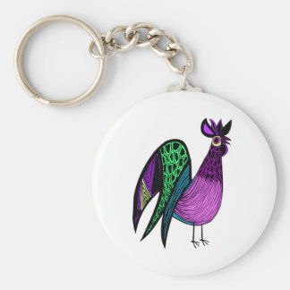 Purple Folk Art Rooster Basic Round Button Key Ring