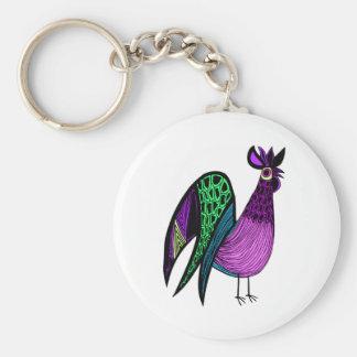 Purple Folk Art Rooster Basic Round Button Key Ring