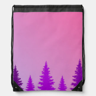 Purple Forest Drawstring Backpack