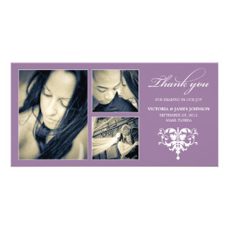 PURPLE FORMAL COLLAGE | WEDDING THANK YOU CARD CUSTOMIZED PHOTO CARD