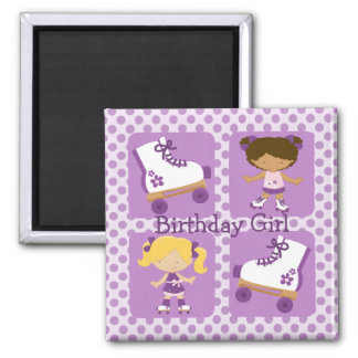 Purple Four Square Rollerskating Birthday Square Magnet