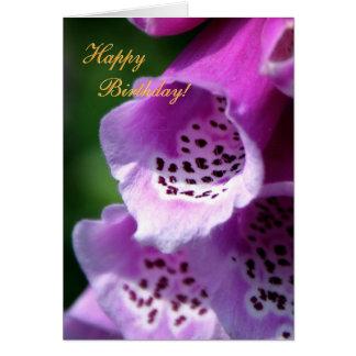 Purple Foxglove Trumpets - Happy Birthday Card