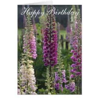 Purple foxgloves card