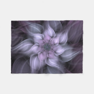 Purple Fractal Flower Fleece Blanket