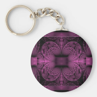 Purple Fractal Key Ring