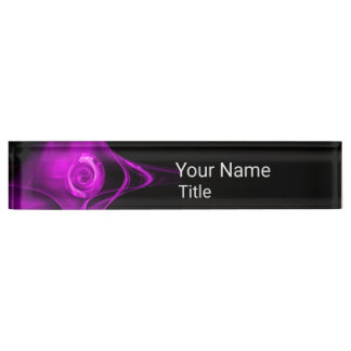 PURPLE FRACTAL ROSE IN BLACK,Abstract Swirls Desk Name Plates
