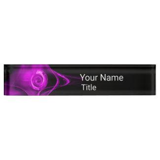 PURPLE FRACTAL ROSE IN BLACK,Abstract Swirls Nameplate