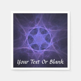 Purple Fractal Star of David Disposable Serviette