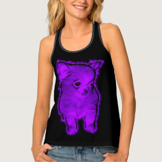 Purple Fractalized Chihuahua Singlet