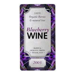 Purple Fractals Custom Text Wine Bottle Labels