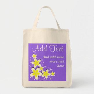 Purple Frangipani Plumeria Flower Grocery Tote Bag