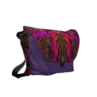 Purple Fratals Designed Messenger Bag