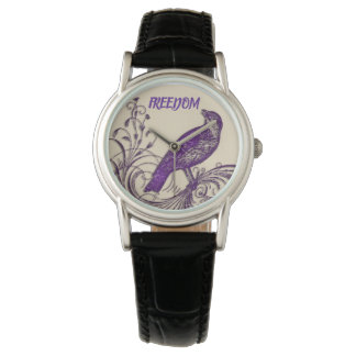 Purple FREEDOM/Bird Ladies Watch