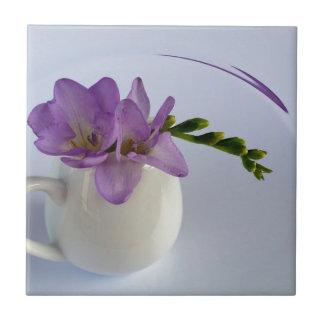 purple freesia buds small square tile