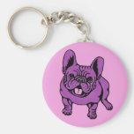 Purple Frenchie Keychain