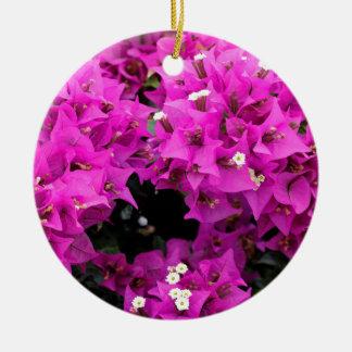 Purple Fuchsia Bougainvillea Background Ceramic Ornament